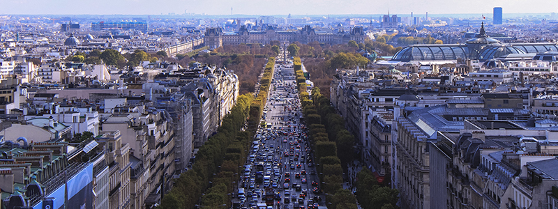 A wide boulevard in Paris, France