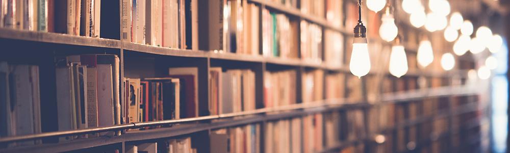Bookshelves illuminated by hanging lightbulbs