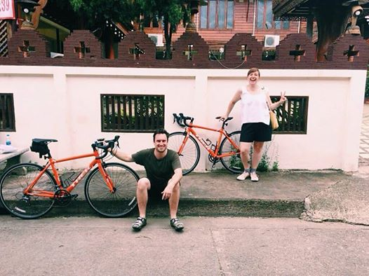 Lydia and Emlyn with bikes in Thailand