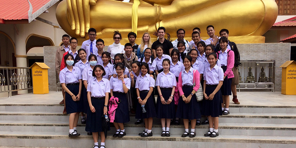 James with students in Thailand